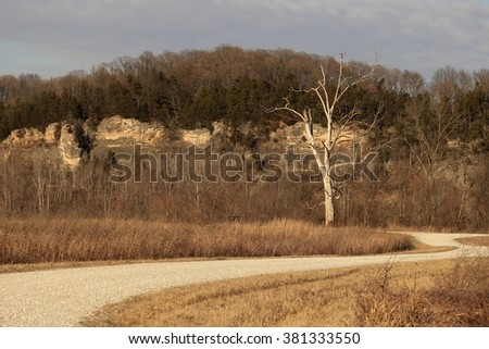 Midwestern landscape in the winter - stock photo