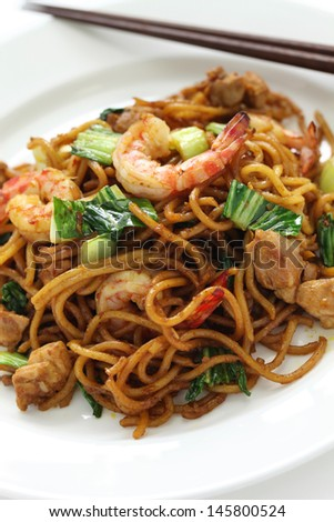 mie goreng, mi goreng, indonesian fried noodles - stock photo