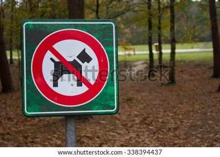 Mierlo,Netherlands - November 11, 2015: A dog sign board in the park during autumn season in  Mierlo, Netherlands