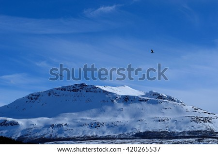 Mighty landscape with snow covered mountain and the ocean in the front in Norway, Hella