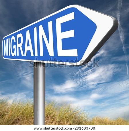 migraine acute or chronic headache need for painkiller or prevent pain  - stock photo