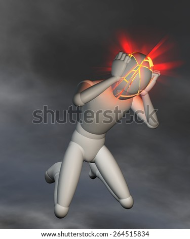 Migraine, headache on dark background - Figure holding its head, electrifying headache, thunderstorms in the head, migraine - stock photo