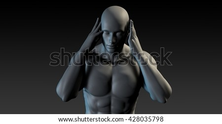 Migraine Headache with Man Holding Head in Pain 3d Illustration Render - stock photo