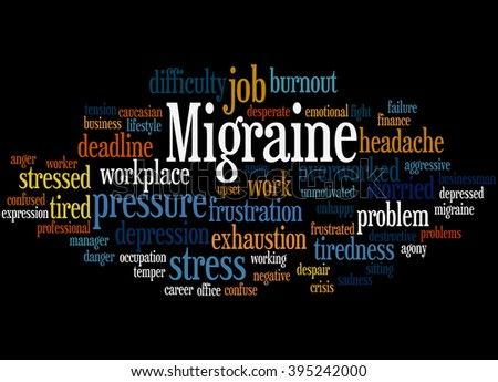 Migraine, word cloud concept on black  background.