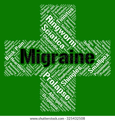 Migraine Word Showing Neurological Disease And Migraines - stock photo
