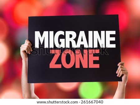 Migraine Zone card with bokeh background - stock photo