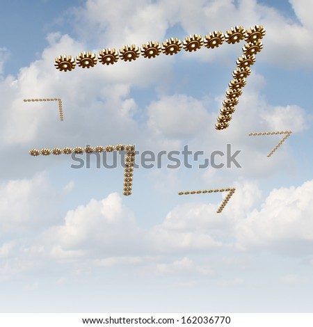 Migrating to new markets as a business concept as a group of gears and cog wheels in a migratory bird formation adapting to changing climate searching for new investment opportunities and expansion. - stock photo