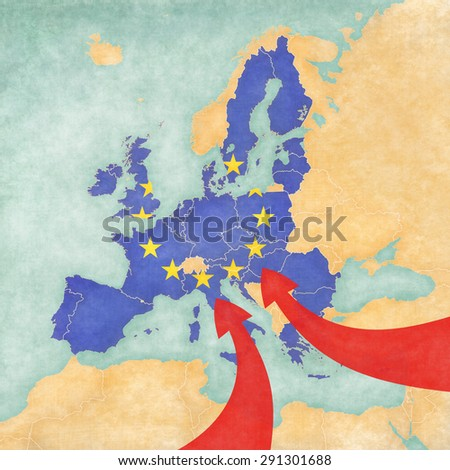 Migration to Europe. Illustrative map of immigration to the EU from Africa and Asia. Map with flag of European Union. - stock photo