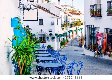 Mijas street. Charming white village in Andalusia, Costa del Sol. Southern Spain  - stock photo