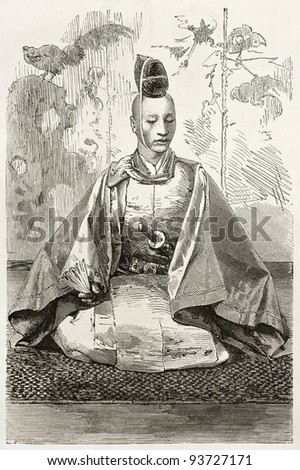 Mikado's officer old engraved portrait. Created by Bayard after photo of unknown author, published on Le Tour du Monde, Paris, 1867 - stock photo