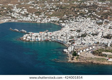 Mikonos city and old port, Cyclades, Greece, aerial view - stock photo