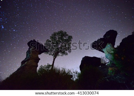 Miky way on Stone henge in Thailand - stock photo