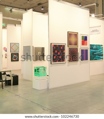MILAN - APRIL 08: Paintings galleries at MiArt, international exhibition of modern and contemporary art on April 08, 2011 in Milan, Italy. - stock photo