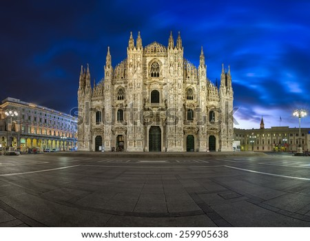 Milan Cathedral (Duomo di Milano) and Duomo Square in the Morning, Milan, Italy - stock photo