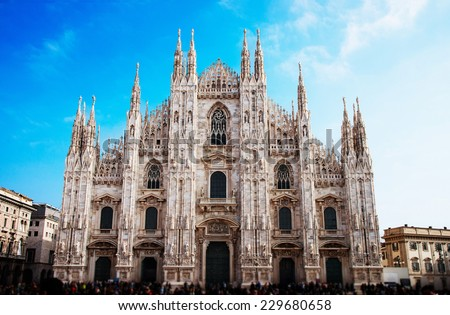 Milan Cathedral (Duomo di Milano) is the gothic cathedral church of Milan  - stock photo
