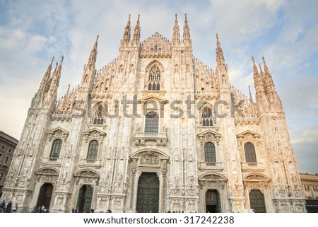 Milan Cathedral (Duomo di Milano) is the gothic cathedral church of Milan, Italy. - stock photo