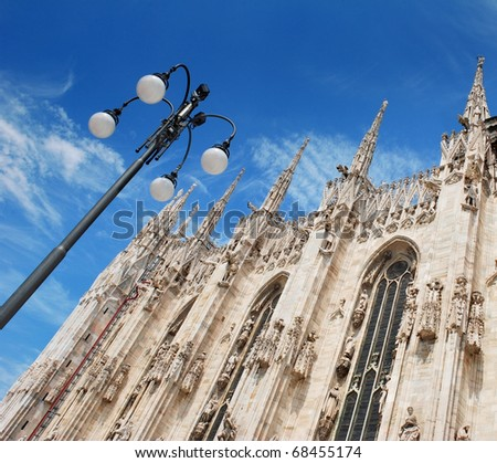 Milan Cathedral (Duomo di Milano; Milanese: Domm de Milan) the cathedral church of Milan in Lombardy, northern Italy. - stock photo