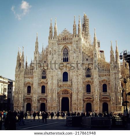 Milan Cathedral (Duomo di Milano) - retro filter. Duomo di Milano gothic cathedral church - vintage effect photo. Milan, Italy - stock photo