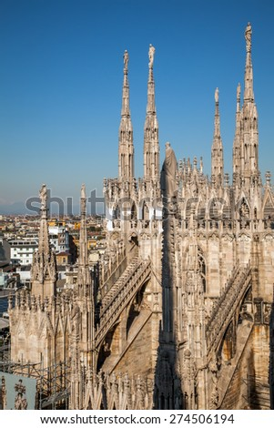 Milan Cathedral is famous for its its complexity, with decorations in even the most hidden places. The cathedral is ornate with more than 100 marble spires and well over 2000 marble statues.