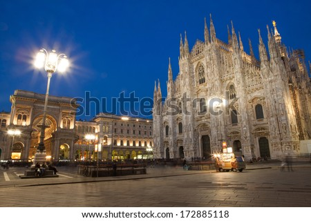 Milan cathedral with duomo square in the evening, Italy - stock photo