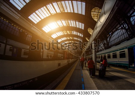 Milan Central railway station. Milan Central Station (in Italian, Stazione Centrale di Milano or Milano Centrale) is one of the main European railway stations. Early morning. Soft focus.Toning - stock photo