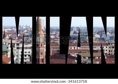 Milan - city name with black background. Italy destination. - stock photo