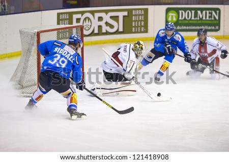MILAN, DECEMBER, 8: A. Raycroft ( Goalie Milano) during  H.C. Milan - H.C. Cortina in Italian Ice Hockey Premier League on December 8,  2012, Milan - stock photo