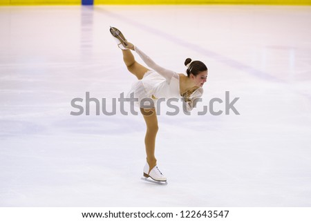 MILAN-DECEMBER 22: Elettra Maria Olivotto   perform in Italian Championships of Figure Skating 2012 on December 22 , 2012 in Milan, Italy