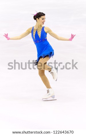 MILAN-DECEMBER 22: Valentina Marchei   perform in Italian Championships of Figure Skating 2012 on December 22 , 2012 in Milan, Italy