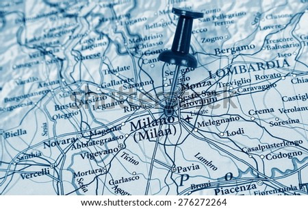 Milan destination in the map - stock photo