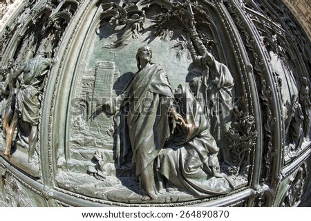 Milan Dome gothic Cathedral copper door detail - stock photo