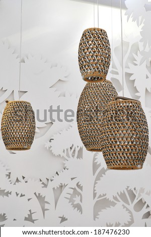 MILAN, ITALY - APR 9: Chandeliers  at Salone del Mobile, international furnishing accessories exhibition in Milan, Italy- April 9, 2014  - stock photo