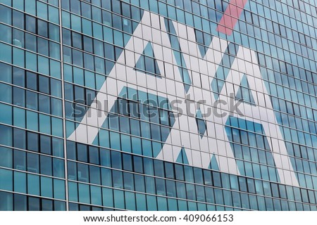 Milan, Italy - April 15, 2016: AXA office building in Milan. AXA is a French multinational insurance firm that engages in global insurance, investment management and financial services