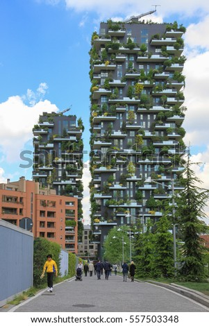Milan, Italy - April 18, 2016: Bosco Verticale (Vertical Forest) is a pair of residential towers in the Porta Nuova district of Milan, Italy.