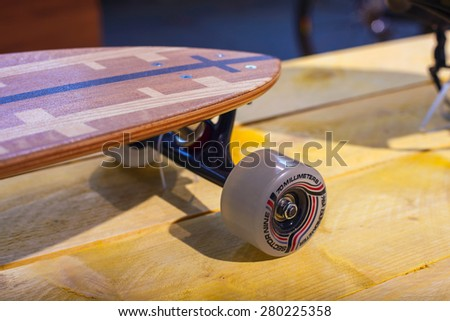 MILAN, ITALY - APRIL 16: Close up of skateboard at Tortona space location of important events during Milan Design week on April 16, 2015 - stock photo