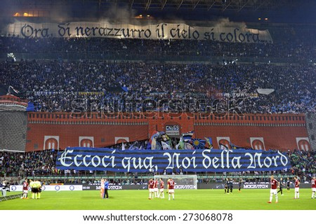 MILAN, ITALY-APRIL 19, 2015: FC Internazionale soccer fans choreography at the san siro soccer stadium, before the derby match FC Internazionale vs AC Milan,in Milan. - stock photo