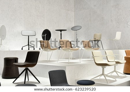 MILAN, ITALY APRIL 07, 2017: Furniture Design Elements Are Displayed At The
