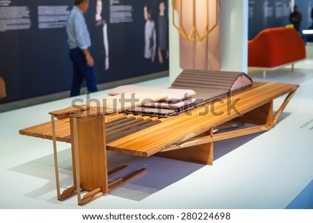 MILAN, ITALY - APRIL 16: Furniture displayed at Tortona space location of important events during Milan Design week on April 16, 2015 - stock photo