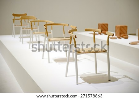 MILAN, ITALY APRIL 17, 2015: Furniture Exposition Of Japanese Design Brand  Nendo