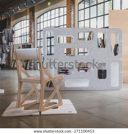 MILAN, ITALY - APRIL 18: Furniture on display at Fuorisalone, series of important and interesting events all around the town during Milan Design Week on APRIL 18, 2015 in Milan.