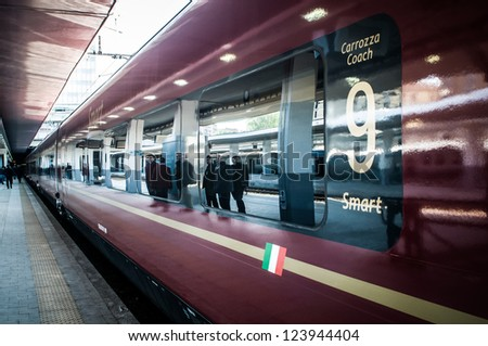 MILAN, ITALY - APRIL 20: Inauguration of 'Italo' train in Milan on April, 20 2012. The new high speed train 'Italo' of NTV corporation is a new technological and fast train in Italy