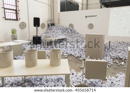 MILAN, ITALY - APRIL 12: Installation for Fuorisalone at Ventura Lambrate space, location of important events during Milan Design Week on APRIL 12, 2016 in Milan. - stock photo