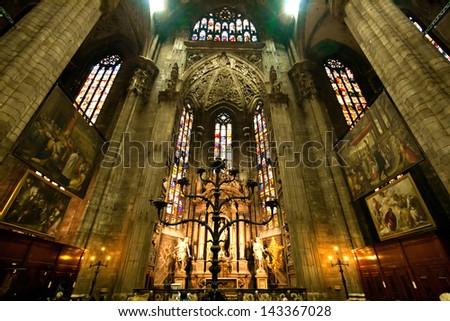 MILAN, ITALY - APRIL 9:Interior of Milan Duomo Cathedral in Milan Italy on April 9, 2010. Milan Duomo is the cathedral church of Milan, Italy was built since 1386. - stock photo
