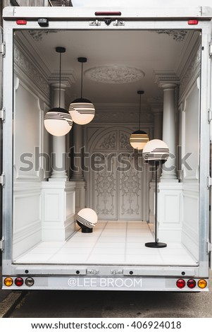 MILAN, ITALY - APRIL 16: Lamps on display at Fuorisalone, set of events distributed in different areas of the town during Milan Design Week on APRIL 16, 2016 in Milan. - stock photo