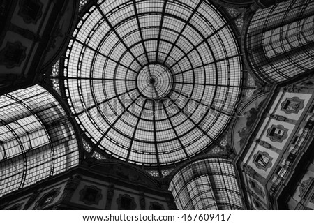 MILAN-ITALY -APRIL-9-2016: Luxury shop in Galleria Vittorio Emanuele at Milan, Italy-Back and White themes