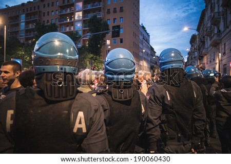 MILAN, ITALY - APRIL 29: Manifestation against fascism and nazism in Milan on 25 April 2014. People took the streets in Milan to protest against neo nazis and fascists groups present in Milan