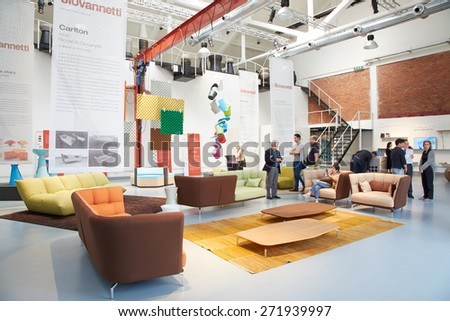 MILAN, ITALY - APRIL 15: Milan Design Week Fuori salone installations and exhibitions during Salone del Mobile on April 15, 2015 in Milan.