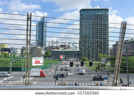 Milan, Italy - April 18, 2016: Panoramic view of the center of Milan during a sunny day.
