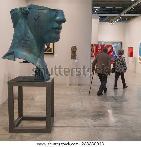 MILAN, ITALY - APRIL 10: People visit Miart, international exhibition of modern and contemporary art on APRIL 10, 2015 in Milan.
