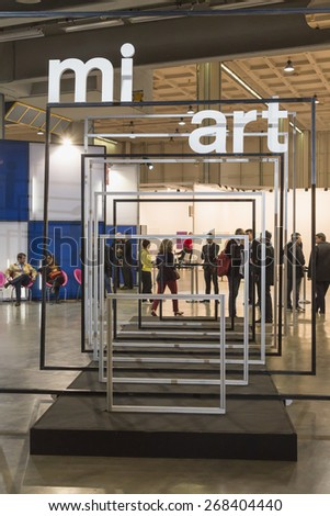 MILAN, ITALY - APRIL 10: People visit Miart, international exhibition of modern and contemporary art on APRIL 10, 2015 in Milan. - stock photo